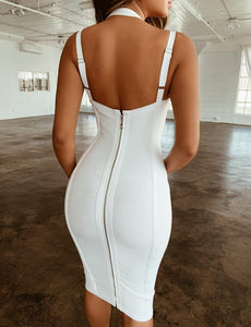 Designer V Neck Backless Bandage Bodycon Dress