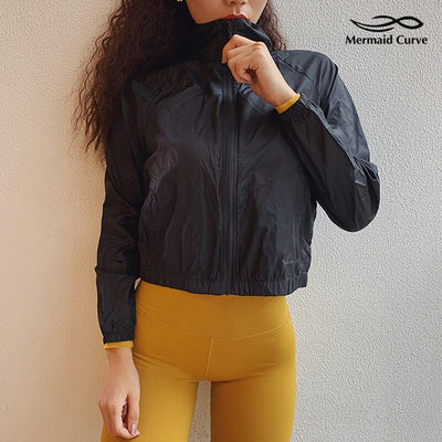 Women Thin Sports Coat Zipper Loose Long Sleeve Running Jacket