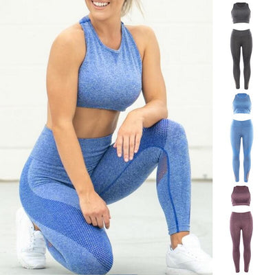 Women's Fitness SPORTS BRA+ Workout leggings Double-Layer Set