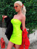 Neon Green Red Strapless High Waist Mini Women Bodycon Dresses