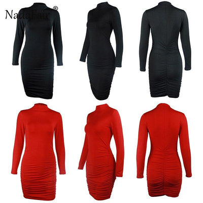 Red Black White Long Sleeve Turtleneck Winter Autumn Casual Bodycon dress