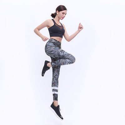 a1-black camouflage yoga pants Printed High Waisted