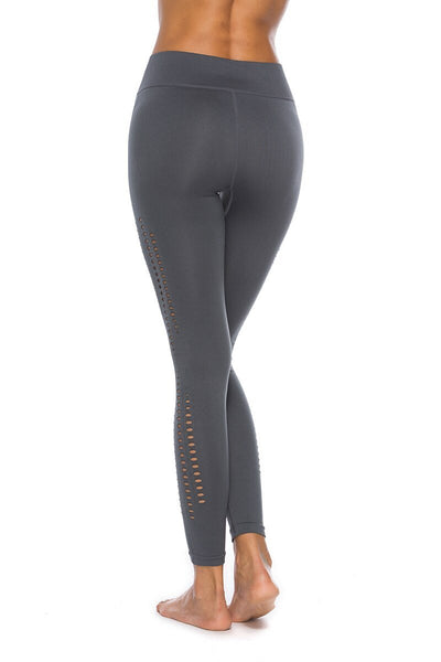 Women's Stretchy Seamless Side Hollow High Waist Leggings-gray