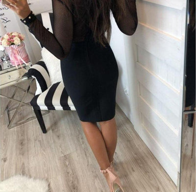 Women's Black Long Sleeve Mesh  Bandage Bodycon Dress