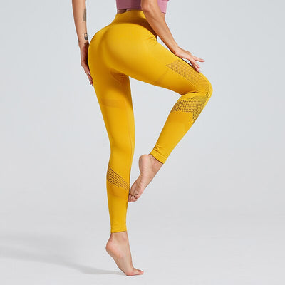High Waist Hollow Out Seamless Yoga Booty Athletic Tights Pants