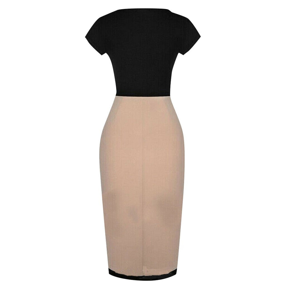 Round neck short-sleeved stitching hem slits Slim professional dress