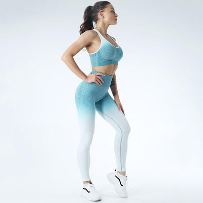 Seamless Sportswear Leggings Padded Push-up Strappy Sports Bra 2 Pcs Set