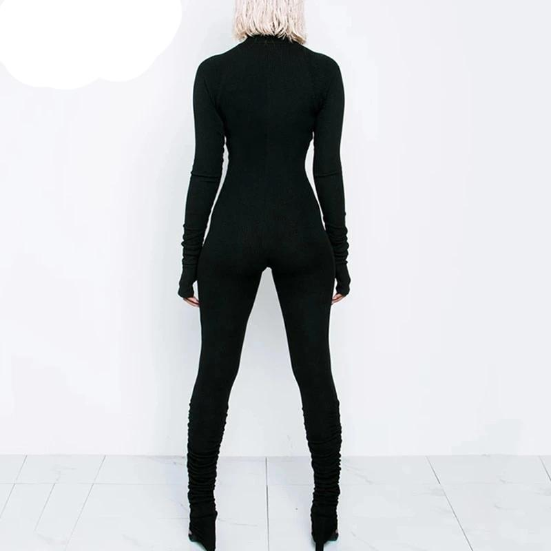 Women Long Sleeve Front Zipper Turtleneck Casual Black Jumpsuit