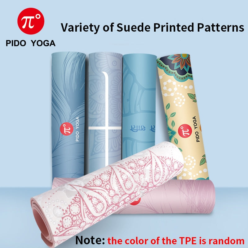 7mm Thick And Long Printed Suede with TPE Fitness Mat