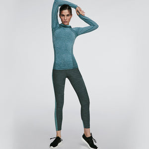 High elasticity Breathable Hooded Top+Slim striped Pants Yoga Sets