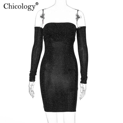 Chicology metallic glitter sparkle off shoulder long sleeve bodycon mini party dress 2019 autumn winter women sexy clothes