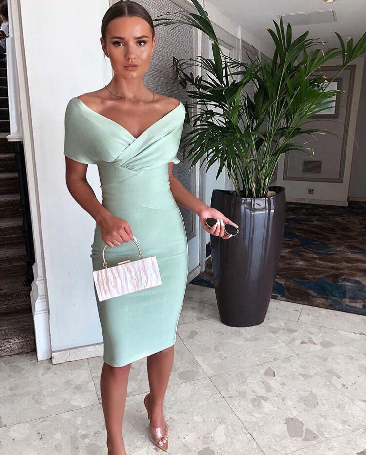 Women Summer Designer Off Shoulder Bandage Dress