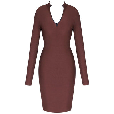 Long Sleeve Brown Round Neck Bandage Dress