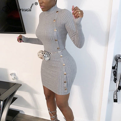 Ribbed Button Women Long Sleeve Bodycon Dresses