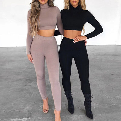 Women Long Sleeve Turtleneck Top and High Waist Pants Red Set