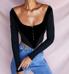 Black Backless Flannel Patchwork ull Sleeve Low Collar Crop Tops For Women