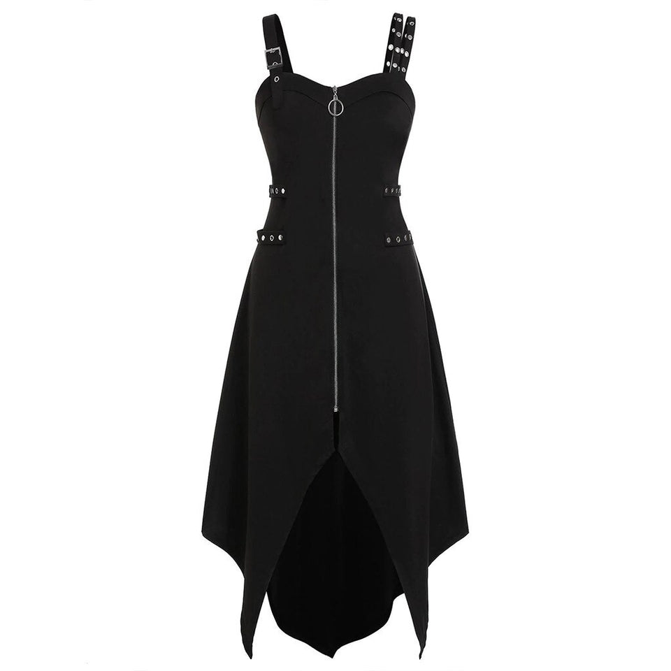 Women Gothic Zipper Irregular Hem Sleeveless Camisole Dress