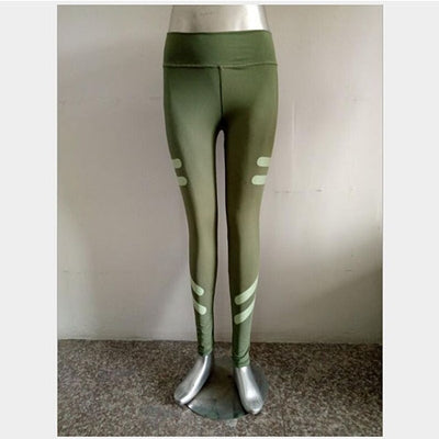 Casual Leggins Sexy Push Up Army Green Workout Leggings With Pockets