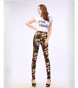 High Stretch Camouflage High Waist Slim Elastic Army Green Workout Leggings