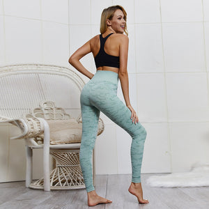 Women's High Waist Push Up Camouflage Army Green Workout Leggings