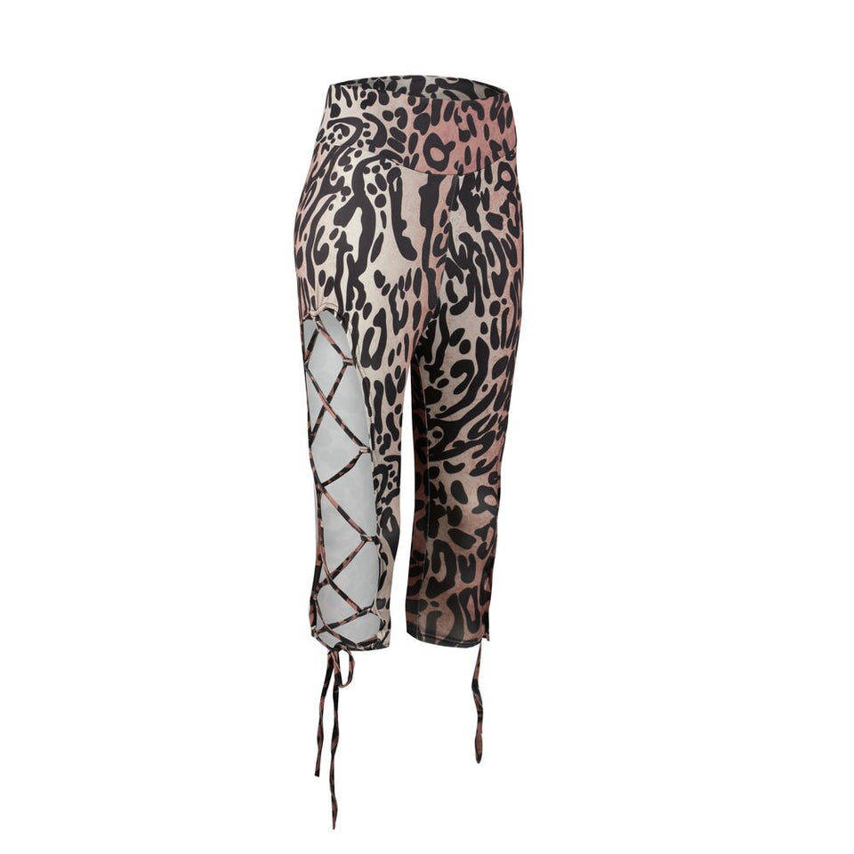 Hollow Out Bandage Leopard Half Length Camouflage Legging