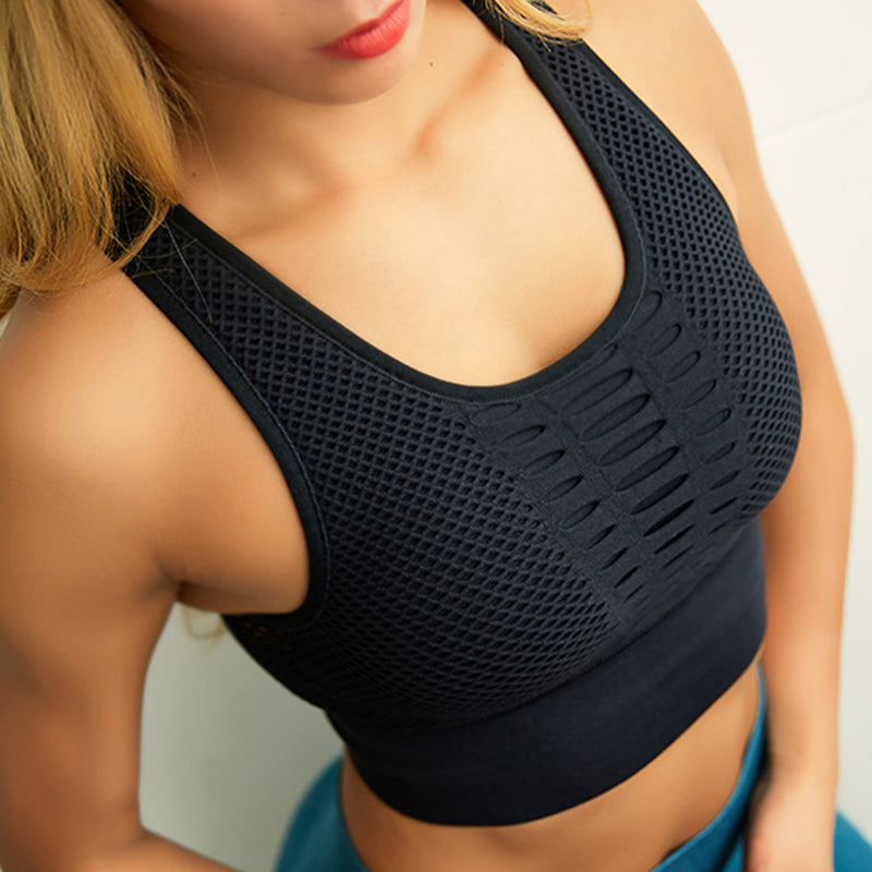 Quick dry padded wire-free adjustable sports yoga bra gym crop tops