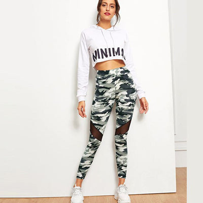 High waisted and hip lifts green army camouflage workout leggings