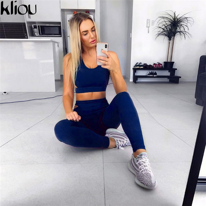 Fashion Solid Fitness Sexy Tank Bra Tops Sporting Leggings 2 Piece Suit