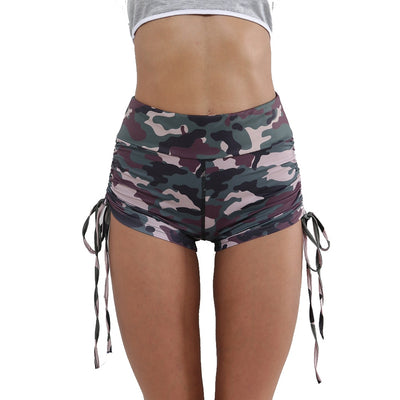 High waist Camouflage skinny drawstring Shorts