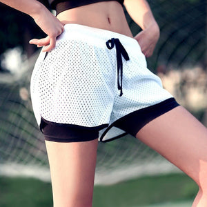 Ladies 2 in 1 sport short yoga Anti-lighting running shorts
