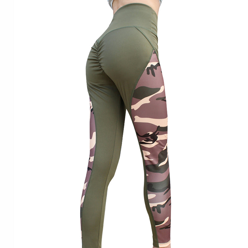 Women Plus Size Patchwork Camouflage High Waist Workout Leggings