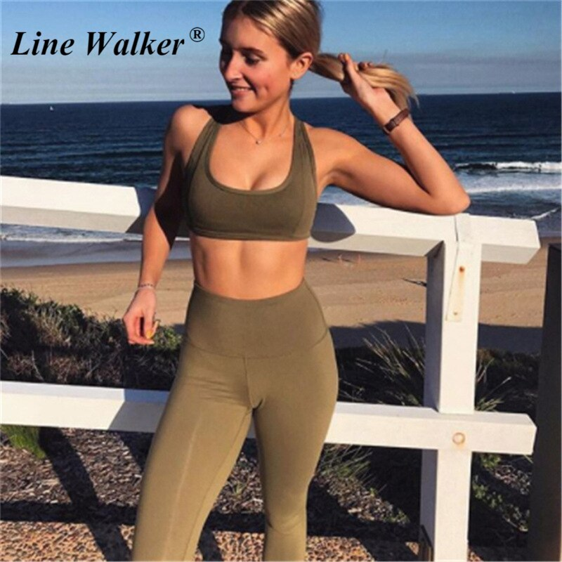 Women Army Green Elastic Fitness Sport Bra with Leggings