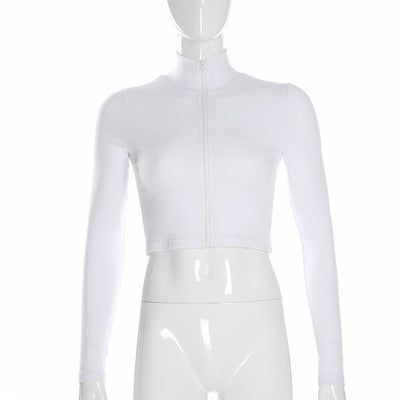Women's white cropped zip up hoodie Long Sleeve Turtleneck Sweatshirts Zipper model