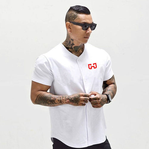 Men's Baseball Jersey Cropped Short Sleeve Tee shirts