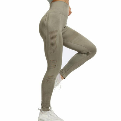 Women Hollow Out Push Up High Waist Elastic Sportwear Pants