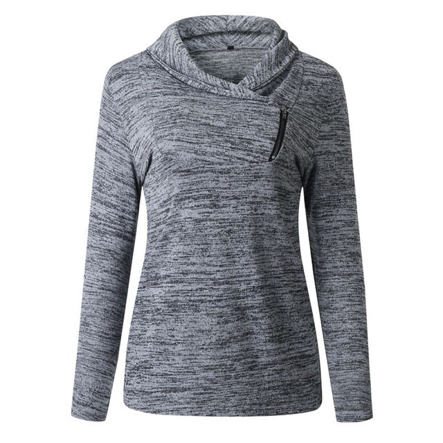 Black gray-Women's black gray hooded sweatshirt Zipper Turtleneck Skinny Pullover
