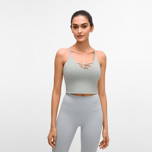 Ultimate Strappy padded high neck sports bra high impact