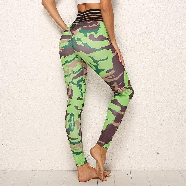 High Waist Push Up Green Army Workout Jeggings