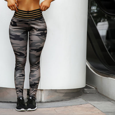 New High Quality High Elastic Skinny Camouflage Army green workout leggings