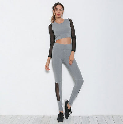 New Women Yoga Mesh Patchwork Elastic Top+ Slim Pants