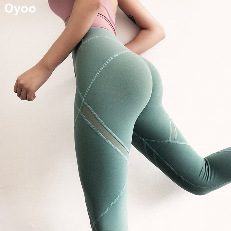 Mesh booty shaping mid-rise activewear Leggings