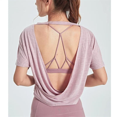 Pink Yoga Top Loose Fit Backless Black Workout Tops For Women