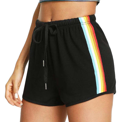 Rainbow Print Sport Shorts Pants For Women