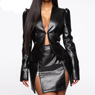 PU Leather Fashion Long Sleeve V-Neck Jacket & Set-Black