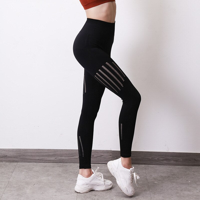 High Waist Women's Fashion Hollow Hip Breathable Fitness Leggings