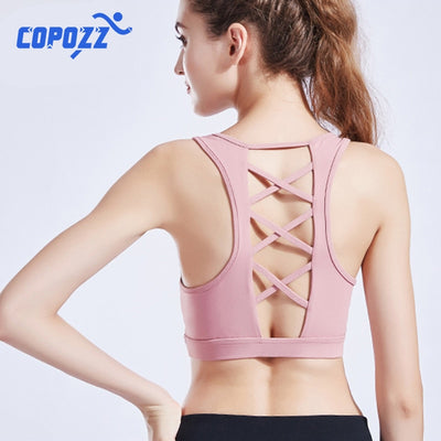High Impact Criss Cross Push Up Padded backless Yoga Bra