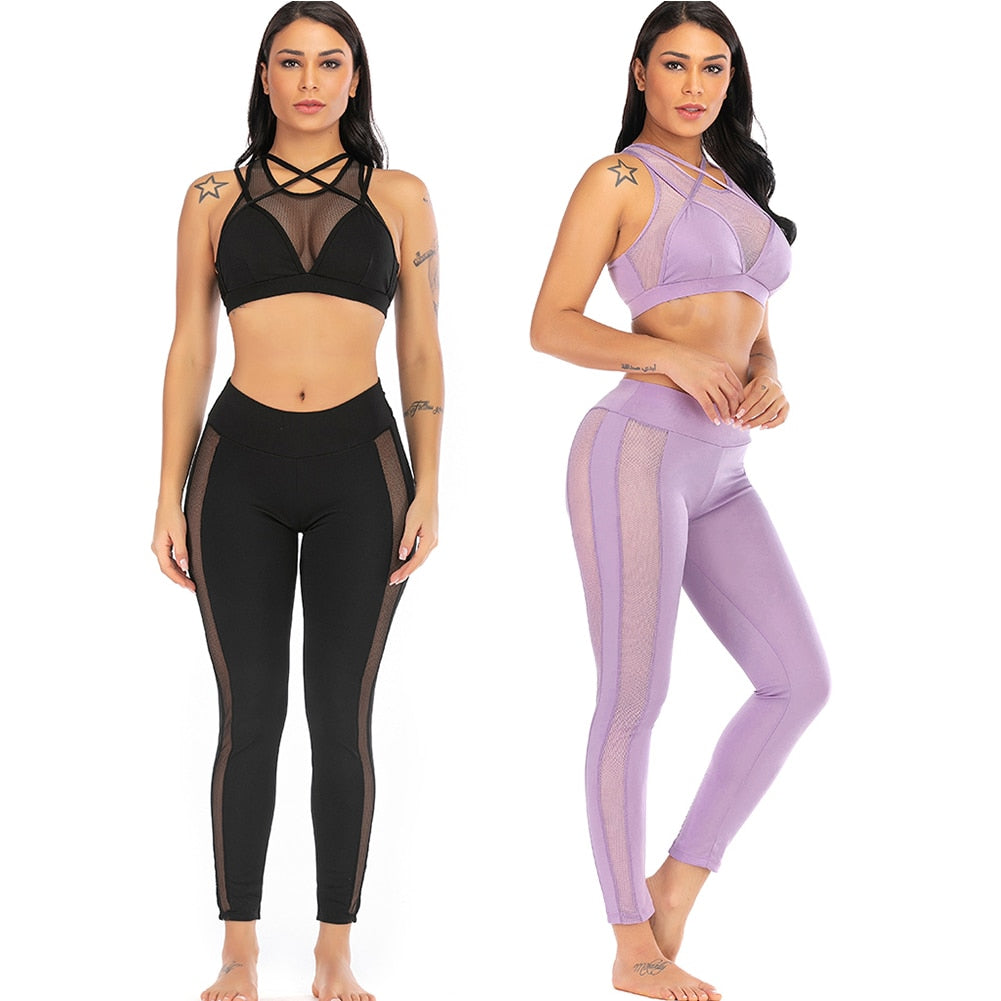Padded Push-up Crop Top + Pants 2 Pcs Sports Suits