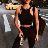 Female Anti-sweat HollowOut Racerback Sleeveless Fitness Vest