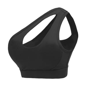 black-One shoulder high neck shock absorber sports bra