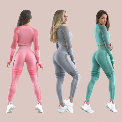 Breathable Leggings+Cropped Shirts Tight Running Sportswear Set